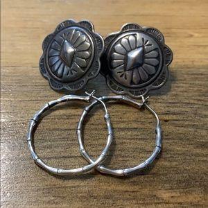 VTG 2 pair earring: sterling hoops & shield posts